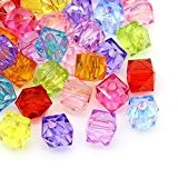 HOUSWEETY 300 Mixte Perles Intercalaires Verre Cristal Carre Acrylique 7x8mm
