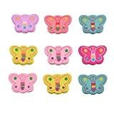HOUSWEETY 50 Pcs Mixte Accessoire Perles en Bois Forme Papillon avec Trou d'Enfilage