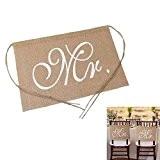 Hrph MR & MRS Cartes de Signe Bannière Banderole de Chaise Décoration pour Cérémonie Mariage Accessoires de Photo