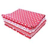 HuntGold 7Pcs 50*50CM rouge floral point coton patchwork tissus d'artisanat couture empaqueter