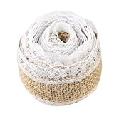 IBuyi 2.5cm x 5m Garland Rouleau Ruban Jute Naturel Burlap hessois dentelle pour Vintage Rustic Décorations de mariage Accueil bricolage ...