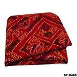 Indian Bandhani Saree Soie Mélange Bordeaux Tissu Traditionnel Ethnique Sari Cru Sarong Robe 5 Yard