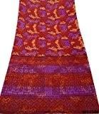 Indian Cru Sari Floral Imprimé Décoration Soie Mélange Coudre Wrap Diy Matériel Draper Sarong Rouge Voile Saree 5Yd
