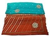 Indian Saree Georgette main-perlées paillettes bleu artisanat tissu Sari Deco