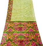 Indien Cru Saree Résumé Imprimé Rideau Draper Soie Mélange Artisanat Upcycled Diy Matériel Jaune Sari 5Yd