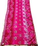 Indien Cru Sari Floral Imprimé Rideau Draper Georgette Soie Rose Couleur Femmes Wrap Recycled Tissu Diy Joint Saree 5Yd