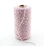 ipalmay 100m coton Bakers Twine Ficelle pour jardin ou Emballage Cadeau Bobine, 3plis, multicolore Taille unique Pink&White