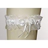 Jarretière de la Mariée en Voile, Satin Blanc et Petit noeud avec Perle cirée de 7mm, 18cm x 7cm
