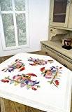 """'Kamaca """"Cool?: hiboux famille en vacances-Nappe de 80cm x 80cm-Croix À réaliser soi-même-100% coton-broder pour prêt doublé-Excellente qualité-à utilisation immédiat-Surnappe ..."""