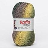 Katia Darling 4Socks FB. 63Cap-Vert/pardos/mostaz, Chaussettes Coton avec dégradé, non seulement à tricoter Chaussettes