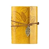 KEERADS Rétro feuille en cuir PU Couverture Loose Leaf Bandage Blank Notebook Journal Diary cadeau(jaune)