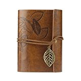 KEERADS Rétro feuille en cuir PU Couverture Loose Leaf Bandage Blank Notebook Journal Diary cadeau(marron)