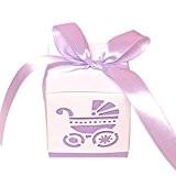 Kekexili-Lot de 50pcs Boîte à Dragées Bonbonières cadeau avec ruban décoration de mariage fête baptême naissance
