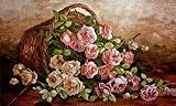 """Kit canevas au demi point de croix """"panier de roses"""" 50x30 Cod 476"""