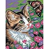 Kit canevas Le Chat au papillon - Ref 003