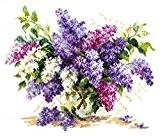 Kit de broderie point de croix fleurs/bouquet 28x23 cm
