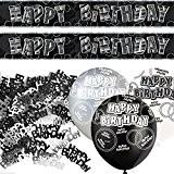 Kit de décoration de fête Noir et Argent Happy Birthday