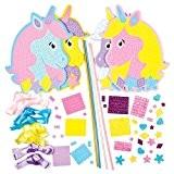 Kits de Baguettes Magiques Licornes Arc-en-ciel en mosaïque que les Enfants pourront Décorer et Personnaliser (Lot de 4)