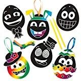 Kits de décorations œuf à visage rigolo à gratter que les enfants pourront fabriquer et suspendre - Loisirs créatifs pour ...