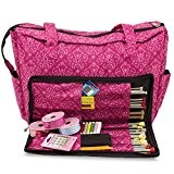 Knitting Shoulder Bag, Sewing Accessories and Craft Needle Storage Organiser Case In Imperial Pink by Roo Beauty