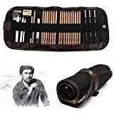 KOBWA Professionnel Croquis Set Multifonctionnel Bois Crayons avec Roll Up Rideau Sac, Hot 8 In 1 Set de Crayons à ...