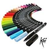Koi Lot de 24marqueurs à pointe flexible à encre mélangeable à base d'eau Livrés dans une pochette en plastique