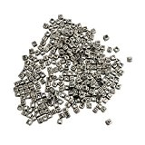 KurtzyTM 300 Perles Alphabet Carrées Argentées avec Lettres noires pour Fabrication de Bijoux & Arts