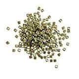 KurtzyTM 300 Perles Alphabet Carrées Dorées avec Lettres Dorées pour Fabrication de Bijoux & Arts
