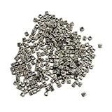 KurtzyTM 600 Perles Alphabet Carrées Argentées avec Lettres noires pour Fabrication de Bijoux & Arts