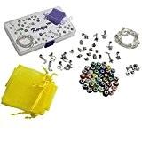 KurtzyTM Ens. Bracelets à Breloques À Faire Soi-Même- 8 Bracelets, Fermoirs, Pendants & Perles Murano
