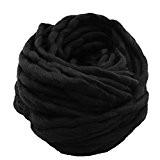 Laine Tricot de Coton Fil à Tricoter Coton Cosy Fil pour Tricoter à la Main,250G/Roll,Noir