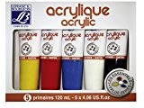 Lefranc & Bourgeois Set de 5 Peinture acrylique 120 ml Jaune/Rouge/Bleu/Blanc/Noir
