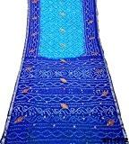 Les femmes indiennes Saree Soie Mélange brodé bleu Sari Cru Craft Tissu 5 cour