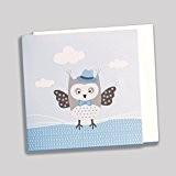 Lot de 10 faires-parts thème hibou chouette bleu mariage baptême communion anniversaire avec enveloppes