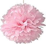 Lot de 10pompons papier de soie Rose à Suspendre Fleur Décoration de Mariage Mariage Chambre de douche, rose, 10Inch