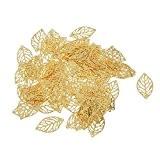Lot de 100 Feuille Percée en Alliage Pendentif Décoration Fabrication de Bijoux DIY Couleur d'Or
