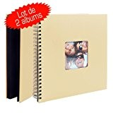 Lot de 2 albums Photo à spirales Fun Beige 30x30 50 pages noires