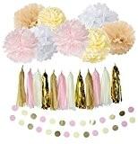 Lot de 20Blanc Crème Rose Brun Clair Kit de décoration de fête avec papier guirlande Pompon Papier De Soie Fleur ...
