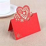 Lot de 20 Pcs Cartes Porte Nom Marque Place en Coeur pour Mariage Anniversaire Fête Banquet Décoration (Rouge)
