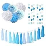 Lot de 20Turquoise Bébé Bleu Blanc pour révéler Décoration Papier Guirlande Pompon Papier De Soie Pom Pom Cercle Guirlande pour ...