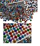Lot de 4008mm autocollantes Motif cercles pierres scintillantes multicolores mélange décoration strass rectangulaire acrylique Pierres Opale Effet Effet arc-en-ciel Laser ...