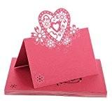 Lot de 50 Carte Marque Place Coeur Ajouré Décoration de Table pour Mariage Fête de Noël - Rouge