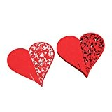 Lot de 50 Coeur Carte de Verre Marque Place Décoration de Table pour Mariage Fête - Rouge