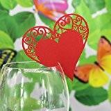 Lot de 50pcs Carte Coeur de Verre Marque Place Décoration de Table Mariage - Rouge, 17 * 9cm