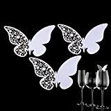 Lot de 50pcs Papillon Dentelle Carte de Verre Marque Place Porte-Nom Décoration pour Vin Lait Café Soirée Mariage Fête Bar