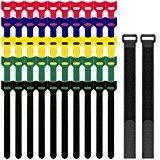 Lot de 52 Attaches de Câbles en Velcro, SENHAI Lien Bandes Rubans Adhésifs pour la Rangement de Câbles Attacher Sacs