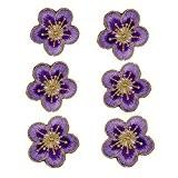 (Lot de 6) Prune Fleurs avec Doré galon brodé patchs à coudre Iron on patches