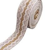 LUFA Jute chiffon en dentelle lin rouleau bricolage à la main décoration de Noël Artisanat 100 * 5cm A2