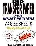 Madaboutink Lot de 10 feuilles de papier transfert imprimable à repasser pour...