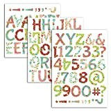 Mademoiselle Toga MEG608 Alphabet de 90 Lettres Thermocollantes Liberty Tissu Multicolore 15,5 x 23,5 x 0,1 cm